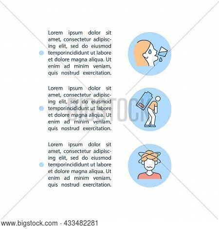 Dehydration Symptom Concept Line Icons With Text. Ppt Page Vector Template With Copy Space. Brochure