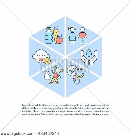 Water Consumption For Kids Concept Line Icons With Text. Ppt Page Vector Template With Copy Space. B