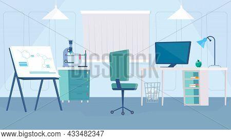 Science Laboratory Interior Concept In Flat Cartoon Design. Scientist Workplace, Desk With Computer,