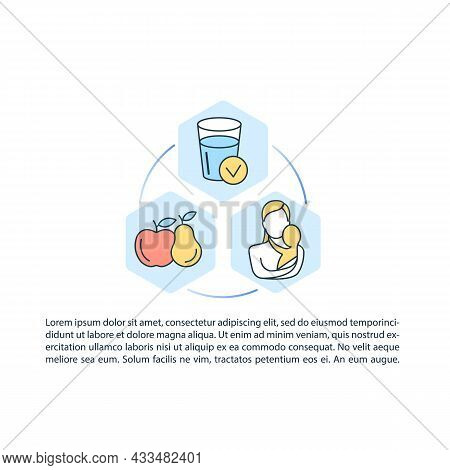 Fluid Source For Child Concept Line Icons With Text. Ppt Page Vector Template With Copy Space. Broch