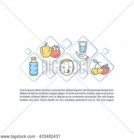 Body Water Level Support Concept Line Icons With Text. Ppt Page Vector Template With Copy Space. Bro