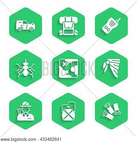 Set Africa Safari Map, Canteen Water Bottle, Cartridges, Bandana Or Biker Scarf, Hunter, Mosquito, W