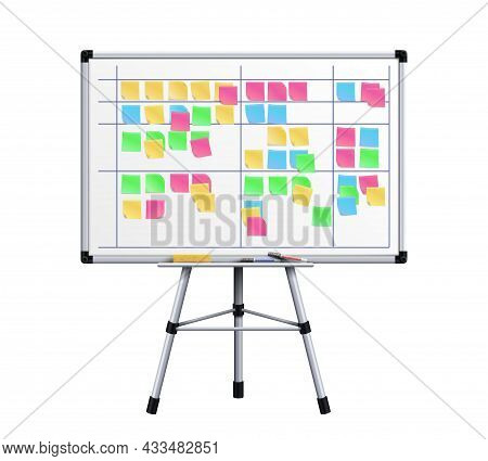 Office Board. Task Stickers On Boards Surface. Scrum Or Agile Management, Colorful Sticky For Daily
