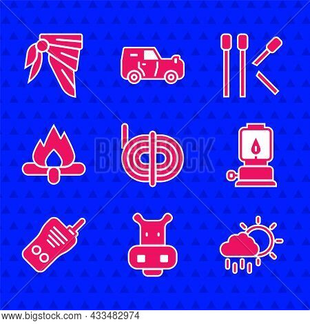 Set Climber Rope, Hippo Or Hippopotamus, Cloud With Rain, Camping Lantern, Walkie Talkie, Campfire,