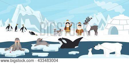 Arctic Landscape. White Polar Bear, Antarctica Beautiful Ice Background. North Pole Iceberg Drifting