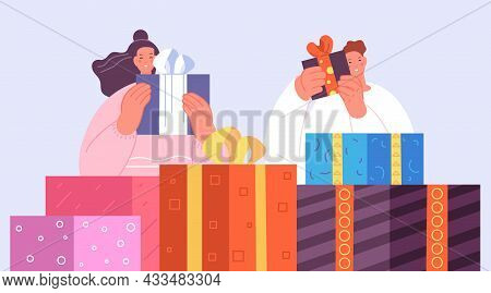 Happy People With Gifts. Teens Celebrate Christmas, New Year Or Birthday. Giant Decoration Gift Boxe
