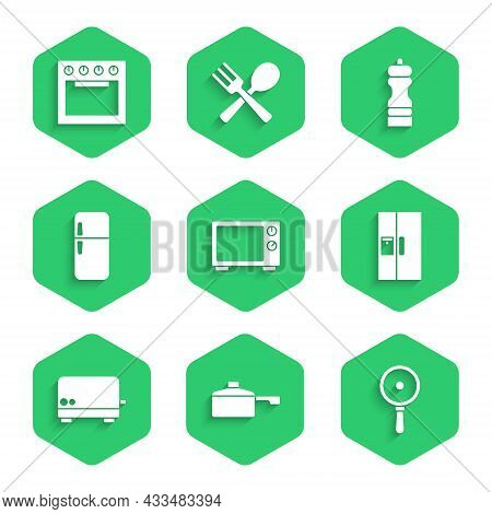 Set Microwave Oven, Frying Pan, Refrigerator, Toaster, Pepper And Oven Icon. Vector
