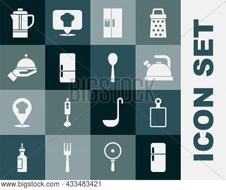 Set Refrigerator, Cutting Board, Kettle With Handle, Covered Tray, Teapot And Spoon Icon. Vector