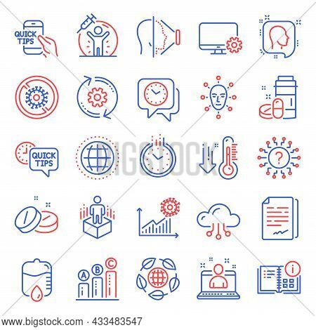 Science Icons Set. Included Icon As Instruction Info, Document Signature, Eco Organic Signs. Quick T