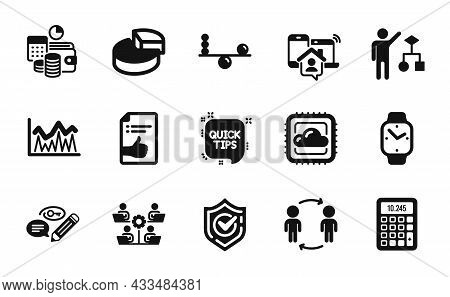 Vector Set Of Keywords, Work Home And Confirmed Icons Simple Set. Investment, Pie Chart And Approved