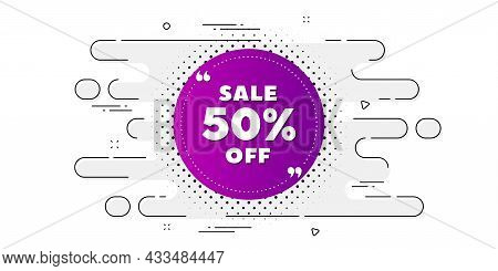 Sale 50 Percent Off Banner. Geometric Ad Banner On Flow Pattern. Discount Sticker Shape. Coupon Bubb
