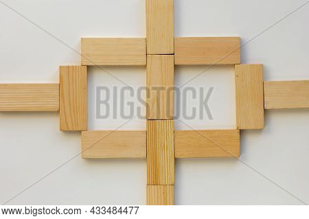 Top View Of Method How To Play With Wooden Dominoes Gaming Pieces For Children On The White Backgrou