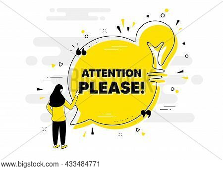 Attention Please Text. Idea Chat Bubble Banner With Person. Special Offer Sign. Important Informatio