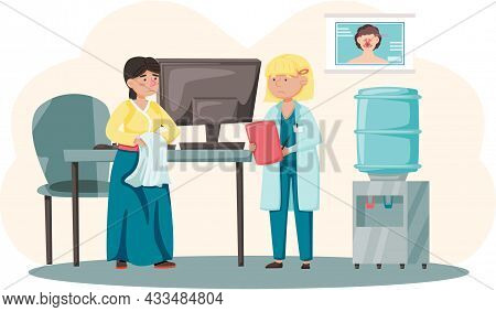 Health Care, Medical Examination, Patient At Otolaryngologist Appointment. Person Consults With Doct