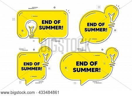End Of Summer Sale. Idea Yellow Chat Bubbles. Special Offer Price Sign. Advertising Discounts Symbol