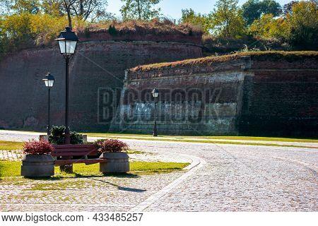 Alba-iulia, Romania - Oct 13, 2019: Inner Streets Of Alba Carolina Citadel In Autumn. Lanterns And B
