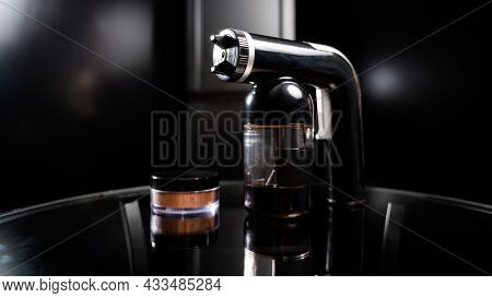 A Close-up Of The Instant Tanning Equipment. Gun Spraying Paint For Leather And Matting Body Powder