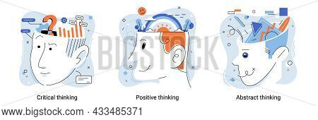 Brain Activity. Critical Thinking, Positive Thinking, Abstract Thinking Types Of Intellection. Decis