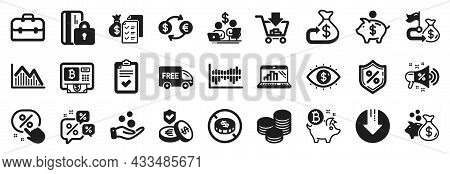 Set Of Finance Icons, Such As Accounting Wealth, Budget Accounting, Financial Goal Icons. Discounts