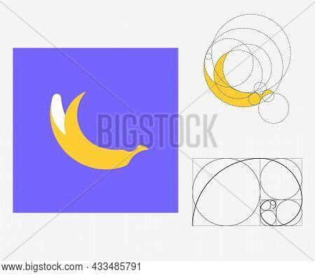 Vector Banana In Golden Ratio Style. Editable Illustration