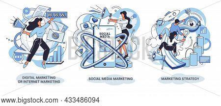 Smm Strategy Social Media Marketing Concept Creative Metaphor Set. Content Marketing, Social Network