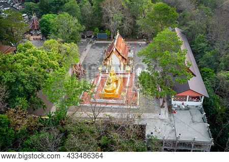 Wat Phra That Doi Tung From Above Birdeyes View, A Famous Temple And Buddhism Place. It's Settled On