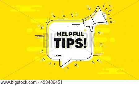 Helpful Tips Text. Alert Megaphone Yellow Chat Banner. Education Faq Sign. Help Assistance Symbol. H
