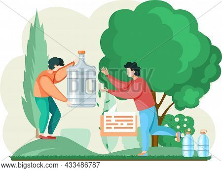 Drinking Water In Plastic Bottles, Large Water Flask And Household Water Filter Outdoor In Garden. M
