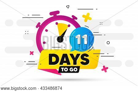 Eleven Days Left Icon. Offer Countdown Date Number. Abstract Banner With Stopwatch. 11 Days To Go Si