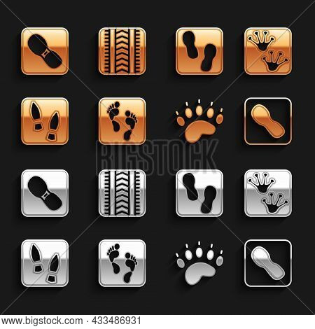 Set Human Footprint, Frog Paw, Footprints Shoes, Bear, And Tire Track Icon. Vector