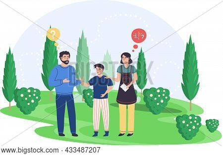 Family Walking Together, Lost In Summer Park. Father, Mother And Son Anxious People Talking. Upset P
