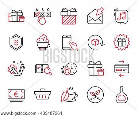 Vector Set Of Line Icons Related To Dishwasher Timer, Correct Checkbox And Return Package Icons. Sur