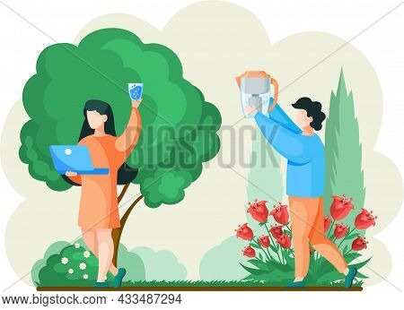 People Drink Filtered Pure Water While Walk In Park, Household Water Filter Outdoor In Garden. Man S