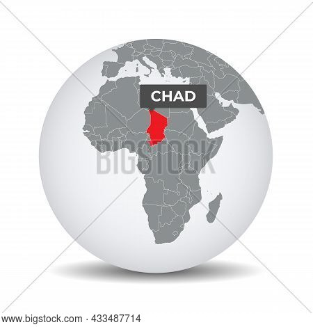 World Globe Map With The Identication Of Chad. Map Of Chad. Chad On Grey Political 3d Globe. Africa