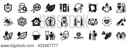 Set Of Healthcare Icons, Such As Use Gloves, Plants Watering, Medical Analyzes Icons. Pet Shelter, B
