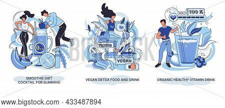 Organic Healthy Vitamin Drink, Vegan Detox Food, Smoothie Diet Cocktail For Slimming. Vegetarianism