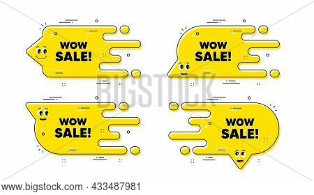 Wow Sale Text. Cartoon Face Transition Chat Bubble. Special Offer Price Sign. Advertising Discounts