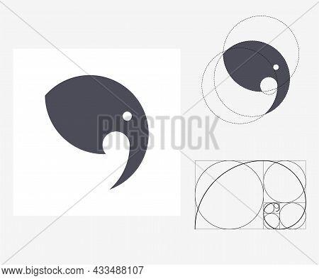 Vector Elephant In Golden Ratio Style. Editable Illustration