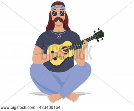 Man Sings Song. Guy Sitting With Guitar Isolated On White. Guitarist Making Melody At Home. Person C