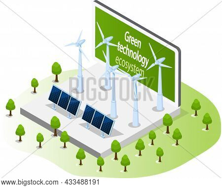 Electricity Power Stations For Alternative Energy Concept. Solar Panels And Wind Turbines For Eco-fr