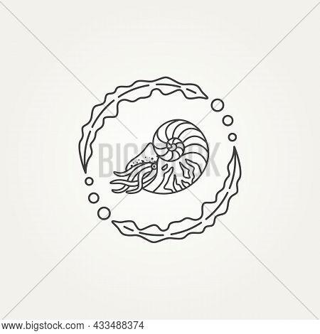Isolated Nautilus Seashell And Seaweed Circle Minimalist Line Art Badge Logo Icon Template Vector Il