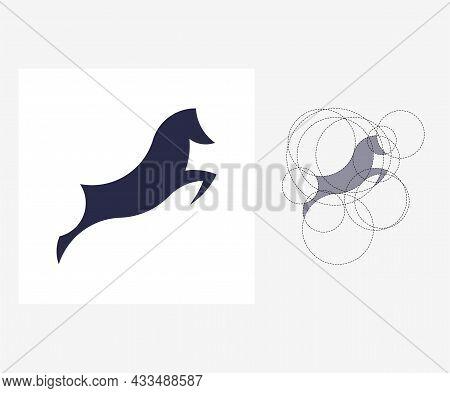 Vector Horse In Golden Ratio Style. Editable Illustration