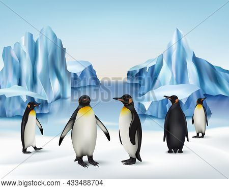 Ice Rocks. North Pole Cold Snow Background With Penguins Standing On Iceberg Outdoor Antarctica Envi