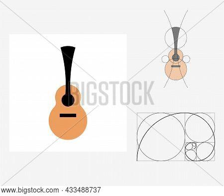 Vector Guitar In Golden Ratio Style. Editable Illustration