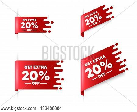 Get Extra 20 Percent Off Sale. Red Ribbon Tag Banners Set. Discount Offer Price Sign. Special Offer