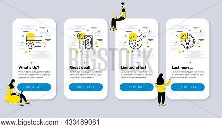 Vector Set Of Technology Icons Related To Change Card, Chemistry Lab And Parking Payment Icons. Ui P