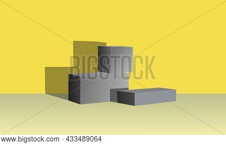 Three-dimensional Geometric Shapes In Gray . Modern Style, Podium For Goods, Art. Space For Text