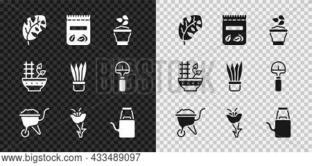 Set Tropical Leaves, Pack Full Of Seeds Of Plant, Seeds In Bowl, Wheelbarrow With Dirt, Flower, Wate