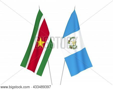 National Fabric Flags Of Republic Of Guatemala And Republic Of Suriname Isolated On White Background