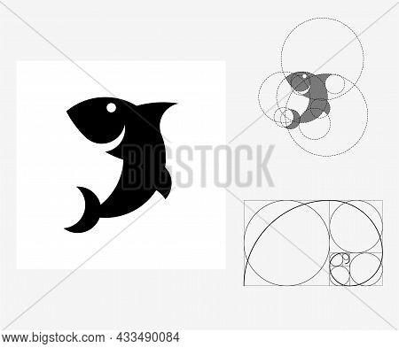 Vector Shark In Golden Ratio Style. Editable Illustration